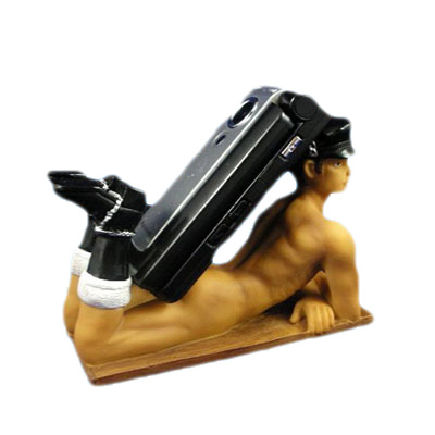 resin man statue cell phone stand