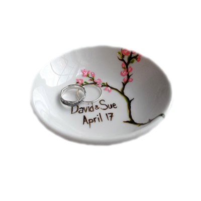 ceramic flower decal ring plate