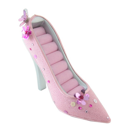 polyresin pink woman's shoe ring holder