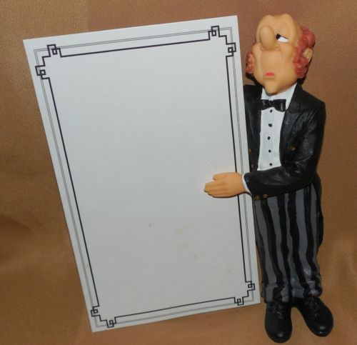 waiter chef menu figurine