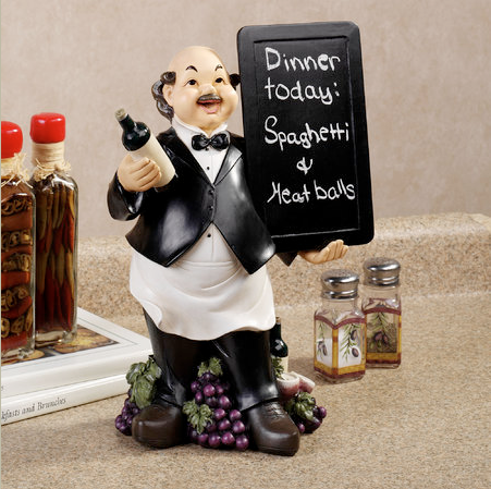 waiter menu figurine